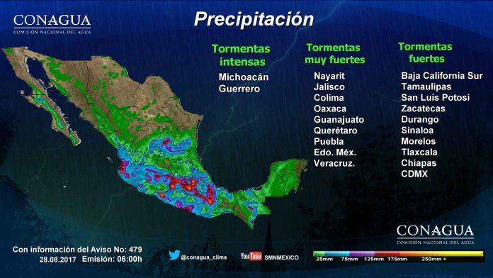 Onda tropical 30 provocará lluvias y tormentas en la mayor país: SMN