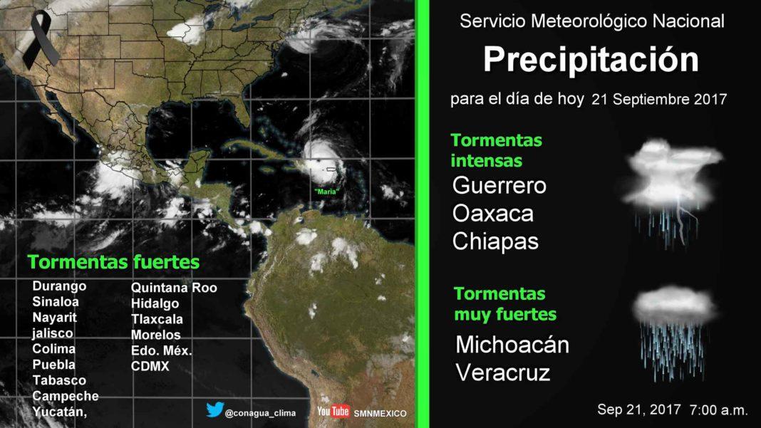 Pronostica SMN lluvias en Colima