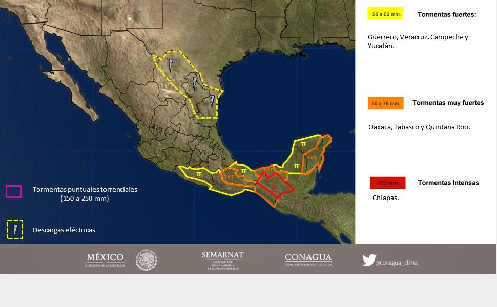 Pronostican lluvias intensas en Oaxaca, Chiapas y Tabasco
