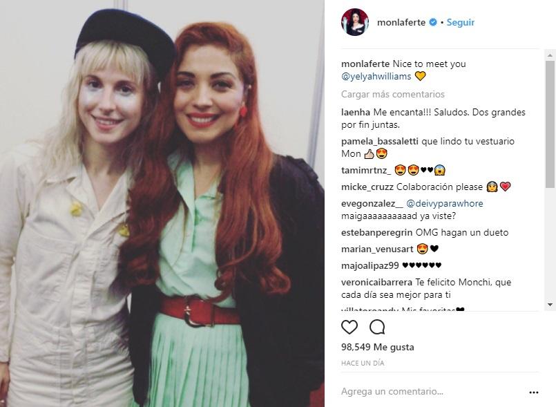 Mon Laferte y vocalista de Paramore se elogian en redes sociales