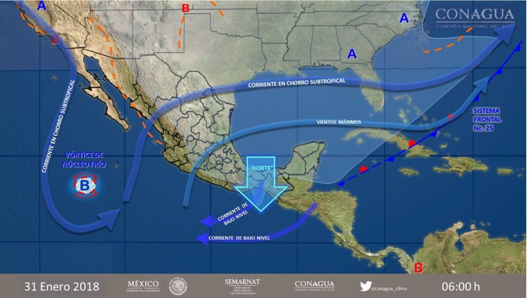 Nuevo frente frío provocará lluvias en 18 estados del país