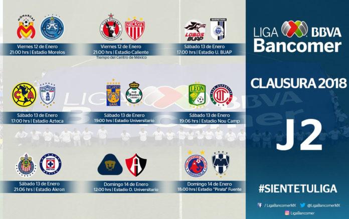 Se alista la jornada 2 del Clausura 2018