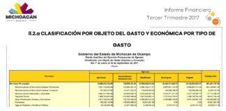 Exponen el informe de gastos del Gobierno de Michoacán