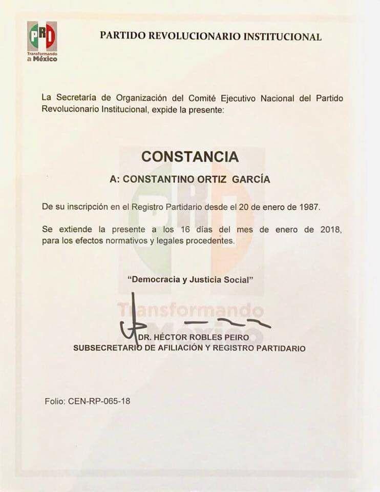Recibe Constantino constancia del PRI para contender por Morelia