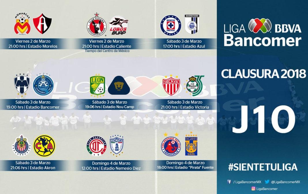 Se juega la candente Jornada 10 del Clausura 2018