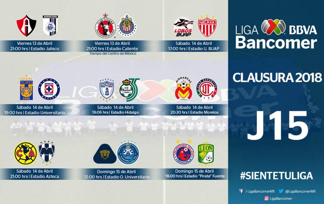 Tabla general de la Liga MX tras resultados de la jornada 15