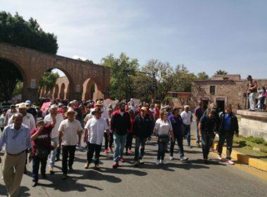Por pagos incompletos, protesta SUEUM en el centro de Morelia