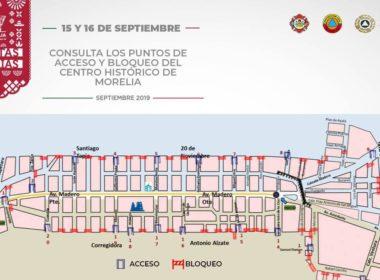 43 vialidades se cerrarán en el Centro de Morelia por fiestas patrias