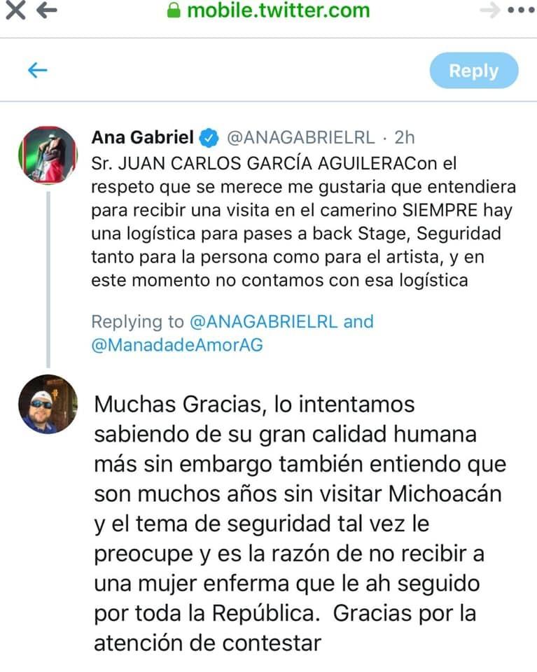 Ana Gabriel se niega a conocer a fan desahuciado
