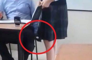 Cachan a profesor grabando debajo de falda de alumna