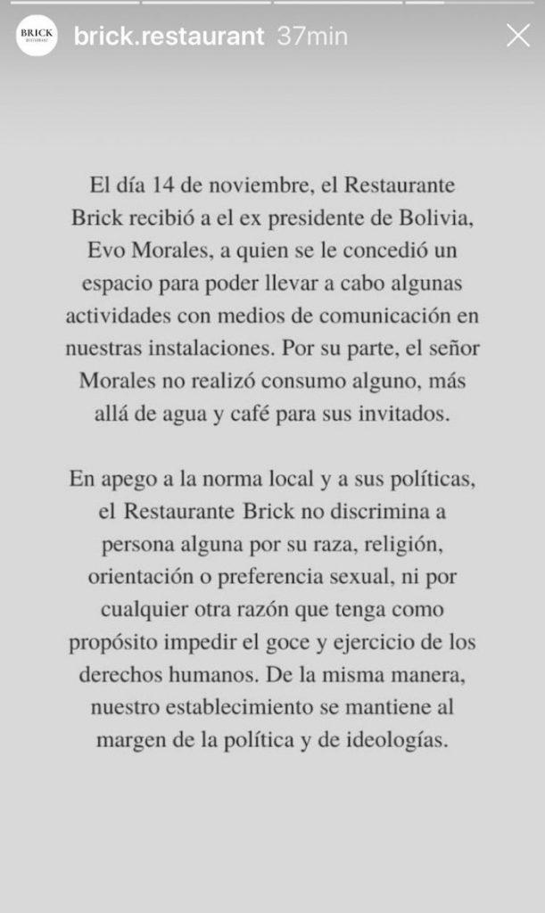 Evo Morales no realizó consumo alguno: Brick