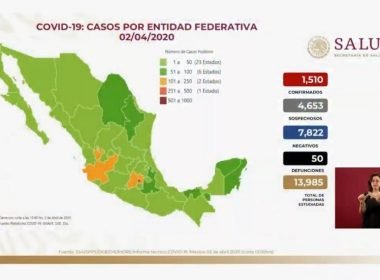 Mapa Mexico coronavirus 2 Abril 2020