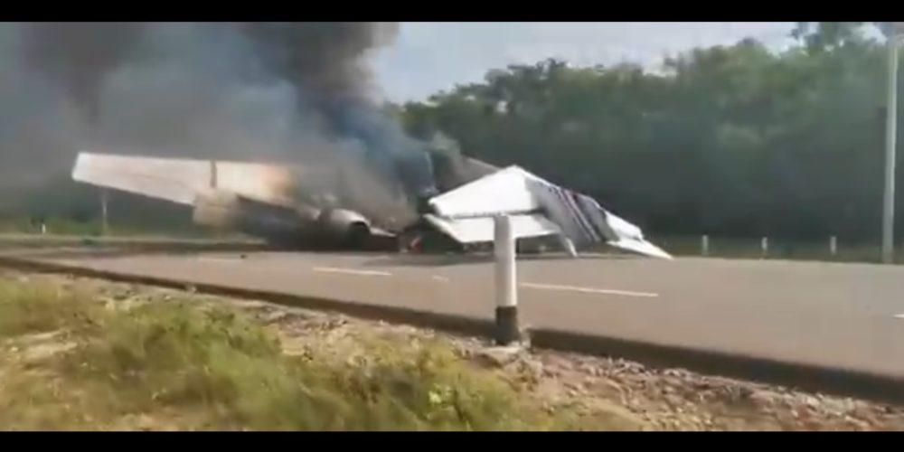 Investigan autoridades federales aeronave incendiada en Quintana Roo