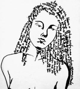 Ilustración - Recitando a Quevedo, autorretrato - Brenda Oronoz