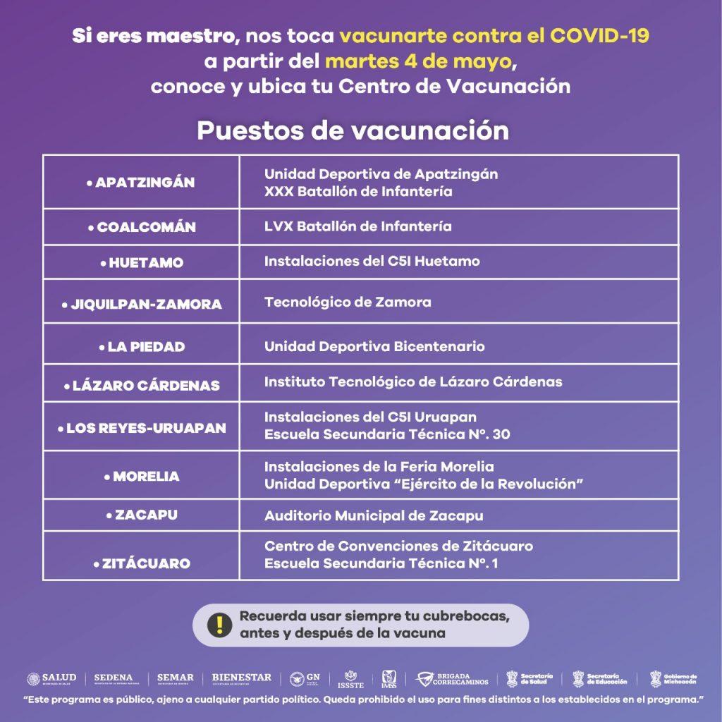 página vacunación sector educativo