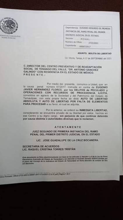 Juez liberación exgobernador Tamaulipas