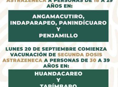 segunda dosis 30 a 39 en Tarímbaro