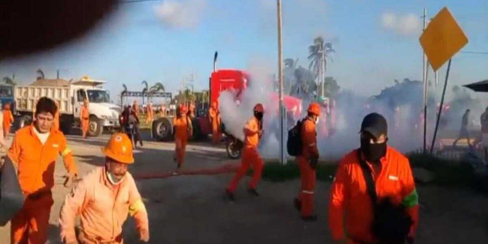 Se registra enfrentamiento en refinería Dos Bocas